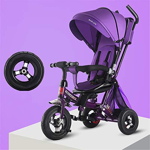 WYD Kleinkind Kind Dreirad Fahrrad Falten 1-3-5 Jahre Alt Drehsitz Kinderwagen 3 in 1 DREI Räder Kinderwagen Fahrrad,Purple (Falten Kleinkind Fahrrad)