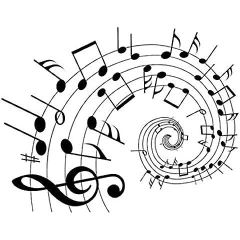 Pegatina Pared Vinilo Decorativo Adhesivo Pentagrama Color Negro Tema Música