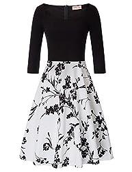 Belle Poque Damen Rockabilly Kleid 3/4-Arm Petticoat Kleid brautjungfernkleid 2XL BP747-2