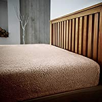 GAX Teddy Plain Fitted Sheet Fitted Fluffy Cozy Warm Fleece | Bedding Set - Single | Double | King | Super Size Extra Deep Bed Sheets for Winter (Mink, Double)