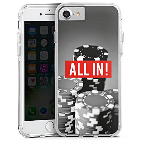 Apple iPhone 7 Bumper Hülle Bumper Case Glitzer Hülle All In Poker Chips Bumper Case transparent