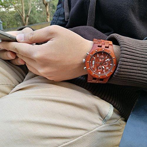 BEWELL Uhren Aus Holz Herrenuhr Chronograph Quarzwerk mit Holzarmband Datum Kalender Stoppuhr Rund Holzkern Uhr (Rot) - 5