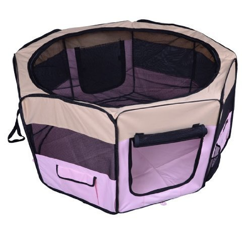 homcom PawHut Box per animali Recinzione per cuccioli Cuccia, Dimensioni: 125 x 125 x 58 cm, Colore : rosa