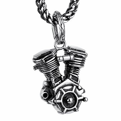 COPAUL Schmuck Edelstahl Motorrad-Motor Herren-Anhänger mit 60 cm Kette,Schwarz Silber