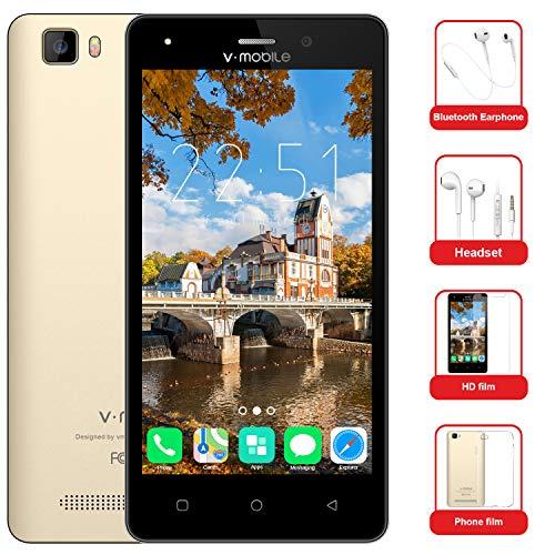 Moviles Baratos 10Pcs v·mobile A10 Telefonos Dual SIM 4G 5.0' Android 7.0 Batería 2800mAh 8GB ROM Cámara 5 MP Telefonos Moviles Libres Baratos-Smartphone(Oro Blanco Negro opcional)(Oro)