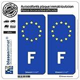 blasonimmat 2 Autocollants Plaque immatriculation Auto F France Européen - Côté Droit...