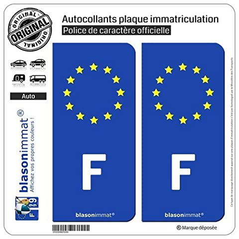 2 Autocollants plaque immatriculation Auto - F France Européen - Côté Droit