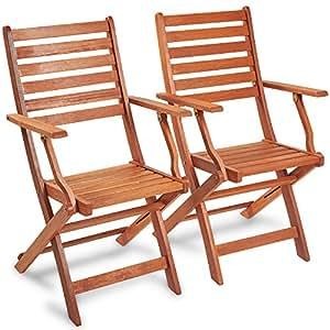Vonhaus Set Of 2 Wooden Folding Armchairs Meranti
