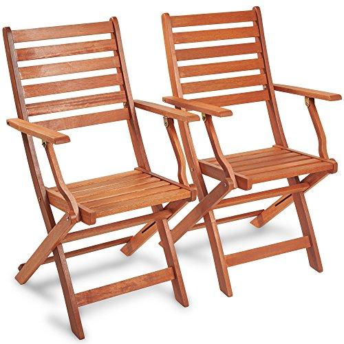 VonHaus Klappstühle aus Holz 2 Stück - 2-teiliges Set Lehnstühle aus Meranti Hartholz mit gebeizter Oberfläche Teak-Öl