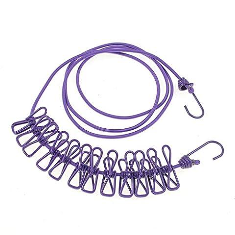 Trockenleinen, Transer® 12-clip Schirmhaspel 3Meter Outdoor winddicht Tuch Waschen LINE trockener Kleidung Reise Camp Wäschekorb Seil Line ausziehbare Wäscheleine Wäscheleine Seilen, violett, Length: 1.9-3.8 Metres
