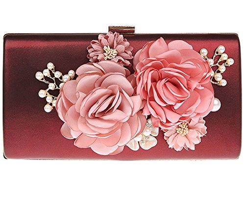 KAXIDY Elegant Abendtasche Blumen Clutch Abendtaschen Handtasche Hochzeittasche (Weinrot) - Weiße Satin Blume Handtasche
