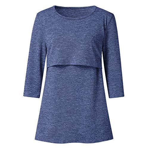 HEETEY Umstandsmoden Mutterschaftskrankenpflege für Frauen Sieben Viertel Sleeve Casual Top Stillende Bluse Umstandstop Lagendesign Verdecktem Ausschnitt Umstandsmode Top