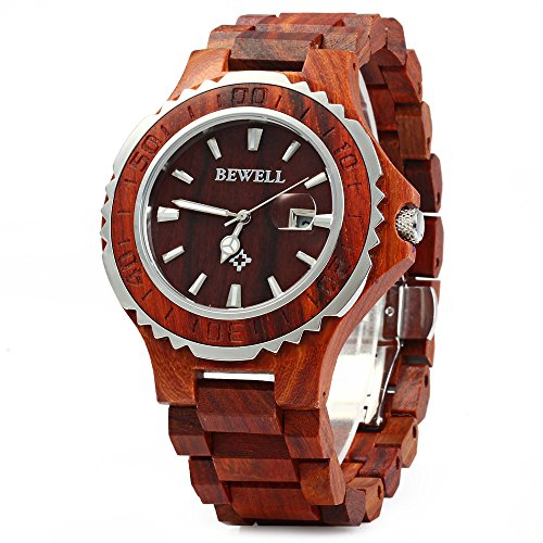 GBlife BEWELL ZS-100BG Mens Wooden Watch Analog Quartz Movement with Date Display Retro Style-Red Sandalwood