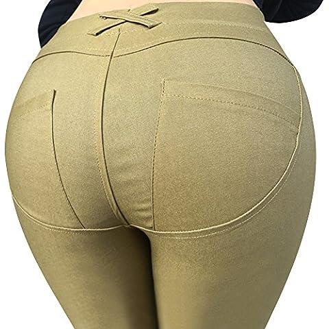 Highdas Donne Elastico Sottile Matita Pantaloni Vita Bassa Sottile Sexy Ghette