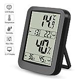 Thermometer Hygrometer, Digitales Thermo Hygrometer Inne Luftfeuchtigkeit Temperatur mit MIN/MAX Records, LCD Display für Schlafzimmer, Büro, Wohnzimmer, Schwarz