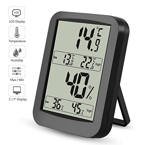 Digitales Thermometer Hygrometer Raumluftüberwachen Temperatur und Luftfeuchtigkeit mit MIN/MAX Records, LCD Display Thermo-Hygrometer für Schlafzimmer, Büro, Wohnzimmer, Schwarz