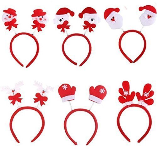 UChic 10Pcs sortierte Art-Frauen-Mädchen-Weihnachtsweihnachtsmann-Ren-Geweihe-Stirnband-Dekoration-Festival-Haar-Band-Kopf-Band Headwear (Kostüm Ohren Muster Die Hund)