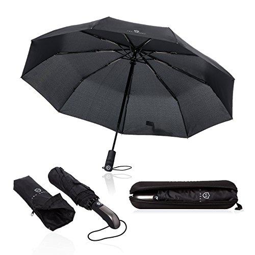 Regenschirm Taschenschirm - VON HEESEN - sturmfest bis 140 km/h - inkl. Schirm-Tasche & Reise-Etui - Auf-Zu-Automatik, klein, leicht & kompakt,...