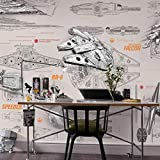 Komar Star Wars Blueprints Papier Peint Mural, Multicolore, 8 lais