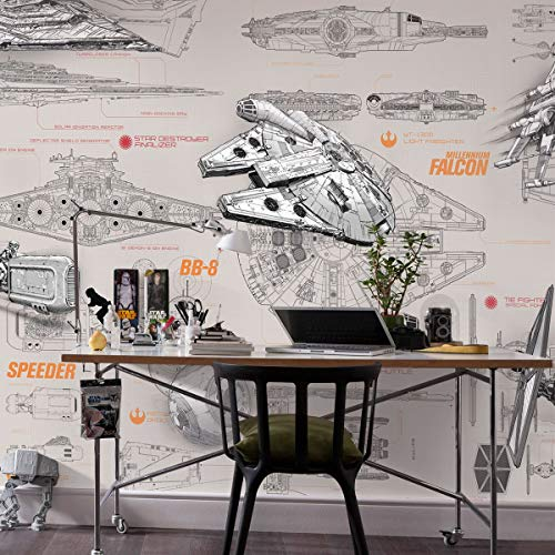 Komar Papel Pintado Star Wars Blueprints, diseño de Star Wars, Multicolor, 8 Piezas 2