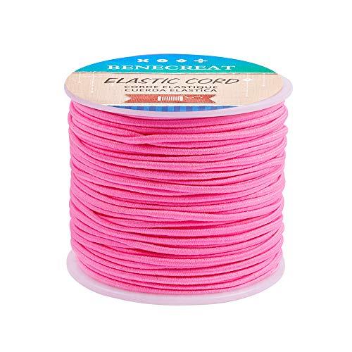 BENECREAT 2mm elastische Kordel (Flamingo) Stretch Faden Perlen Schnur Stoff Crafting String für DIY Handwerk Armbänder Halsketten, 50m (Mm Perlen-schnur 2 Elastisches)