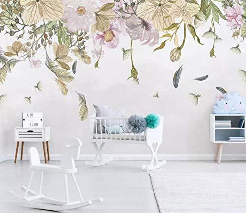 Carta da parati moderna piccole foglie fresche piume floreali acquerello stile sfondo muro tappezzeria per camera dei bambini 300x210cm