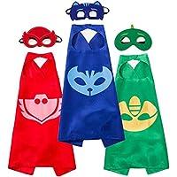 Letop PJ Masks Superhéroe capa y máscara para disfraz de 3 personajes – Catboy, Gekko y Owlette