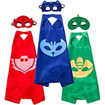 Capa y máscara Letop PJ para disfraz de 3 personajes, Catboy, Gekko y Owlette