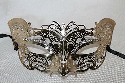 EXKLUSIVES DAMEN wunderschöne fein ausführlich verzierte GOLD METALL KATZE Venezianische Maskerade KARNEVAL PARTEI - Katze Maske Venezianische