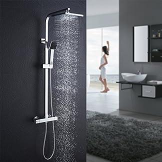 Auralum – Columna de ducha con grifo termostático con alcachofa de lluvia y ducha, sistema de ducha antiquemaduras