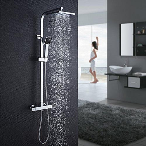 Auralum colonna doccia con miscelatore termostatico con soffione a pioggia e doccetta, sistema doccia antiscottatura