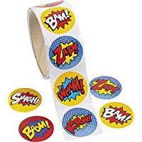 Pack of 100 - Superhero Theme Stickers - for X-Men,Spiderman,Super Heroes Party Loot Bags