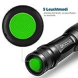 Ecooe Taschenlampe LED Cree XML T6 Wasserdichte 5 Modis Einstellbar Schwarz - 3