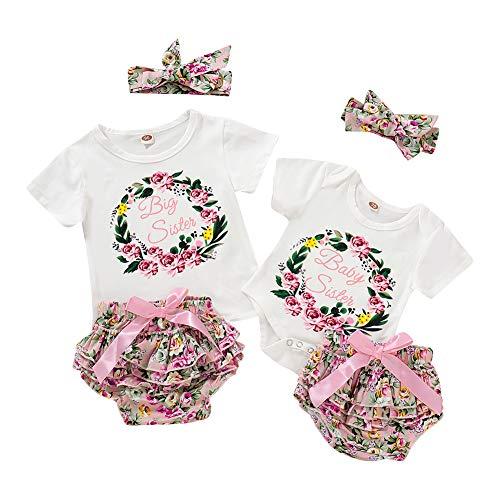 Passende Schwester Sommer Outfit Big Sister T-Shirt Top Baby Schwester Strampler PP Hose Shorts Floral Bedruckte Bloomers kleines Mädchen 2 Stück Kleidung Set (Passende Shirts Für Mädchen)