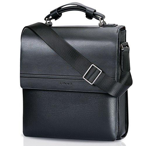 Lifewit Umhängetasche Herren Klein PU Leder Messenger Bag Ledertasche Männer Tasche Aktentasche Schultertasche Arbeitstaschen für 11 Zoll iPad (Schwarz)