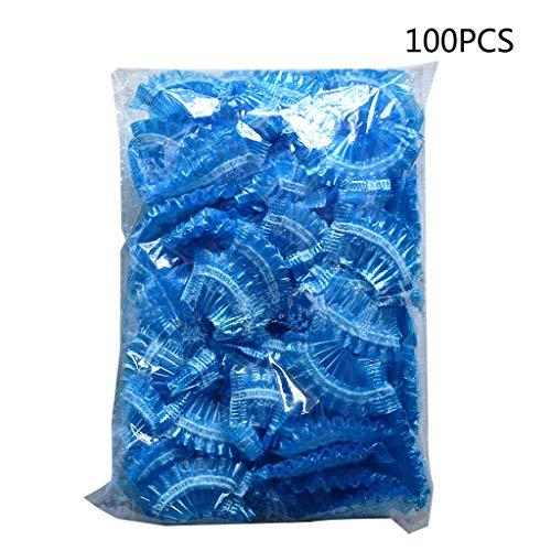 GROOMY 100 Piezas espesadas Desechables de plástico Impermeable Protector de Oreja Cubierta Tapas Salon Peluquería Dye Shield Orejeras Herramienta de Ducha - Azul