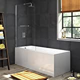 1700 mm Single Ended Bath Modern Straight Bathtub + 1000mm Shower Screen with Rail