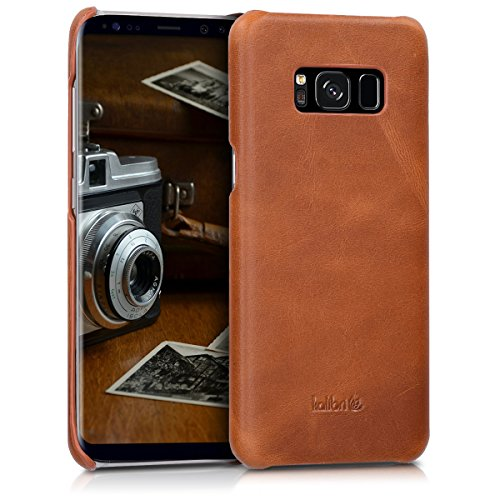 kalibri-Echtleder-Backcover-Hlle-fr-Samsung-Galaxy-S8-Leder-Case-Cover-Schutzhlle-in-Cognac