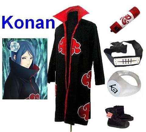 Naruto Akatsuki Konan Cosplay Kostüm Set (Akatsuki Cloak,Größe:S: Höhe 150cm-158cm + Konan Stirnband + Konan Ring + Naruto Federmäppchen + Ninja (Konan Cosplay Set)