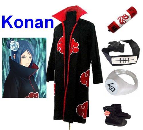 Sunkee Japanische Anime Naruto Cosplay Konan Set -- Akatsuki Mantel Umhang Größe XXL + Federmäppchen + Stirnband+ Konan Ringe + Ninja - Konan Naruto Cosplay Kostüm