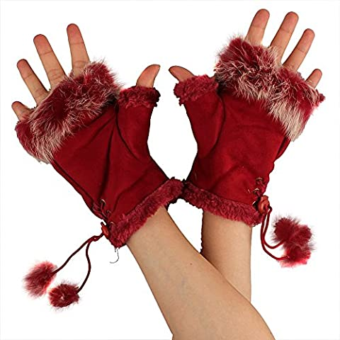 TININNA Les Femmes Hiver Chaud Tricot Knit Finger Mitaines Gants Thermiques Lapin Sans Doigts Doublure en Fourrure Rouge Foncé