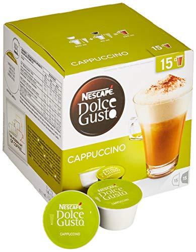Nescafé Dolce Gusto Cappuccino, XXL-Vorratsbox, 90 Kapseln (45 Milch-, 45 Kaffeekapseln), 100{ec70e5e29f5ba0a9dd7bc69694d9145e87845c230ee24284a72ab8a558d26bc3} Arabica Bohnen, leichter Kaffeegenuss mit cremigem Milchschaum, 3er Pack (3 x 30 Kapseln)