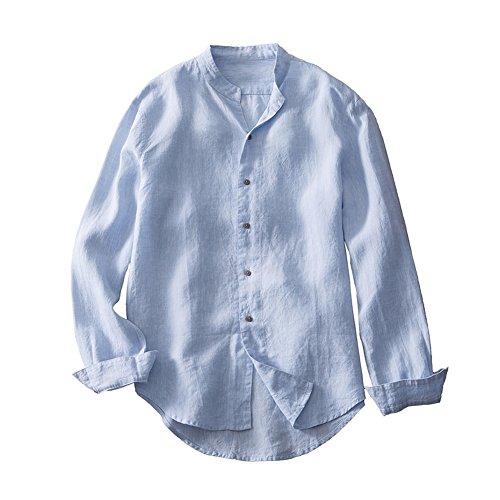 Insun uomo camicia manica lunga con colletto alla coreana primavera estate camicie da spiaggia in lino blu it 48