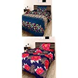 Modern Fab 3D Printed 180 TC Polyester Blend Polycotton Combo Of 2 Single Bedsheet With 2 Pillow Cover (Multicolour)