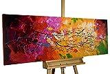 KunstLoft® Acryl Gemälde 'Lucid Dream' 150x50cm | original handgemalte Leinwand Bilder XXL | Abstrakt Bunt Rot Gelb | Wandbild Acrylbild moderne Kunst einteilig mit Rahmen
