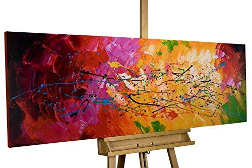 mälde 'Lucid Dream' 150x50cm | original handgemalte Leinwand Bilder XXL | Abstrakt Bunt Rot Gelb | Wandbild Acrylbild moderne Kunst einteilig mit Rahmen ()