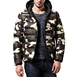Winterjacke Herren Hooded Puffer Jacket Steppjacke gefüttert mit Kapuze Mantel Outwear Camouflage Slim Trench Zipper Caps Coat