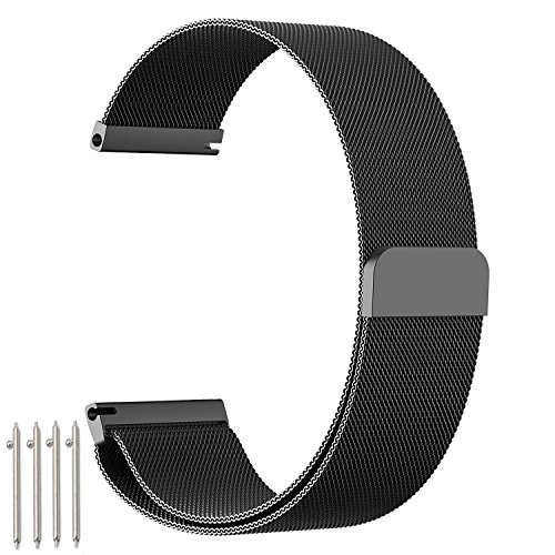 """Withings Steel HR 36mm Bracelet de montre, Bracelet de montre 20mm, boucle de fermeture entièrement magnétique ABC boucle de maille en mousse milanaise en métal inoxydable bande de remplacement en métal pour Huawei Watch Classic / Active, Withings Steel HR 36mm, Withings Activité POP / Steel / Sapphire, ASUS Zen Watch 2 1.45"""", Fossil Q Tailor et pour tous les modèles de montre Spring Bars 18mm, Noir"""