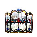Chloe Beleuchtung Aves tiffany-glass Gathering Birds Design 3Falten, der Kamin Bildschirm 101,6cm breit glassfireplace