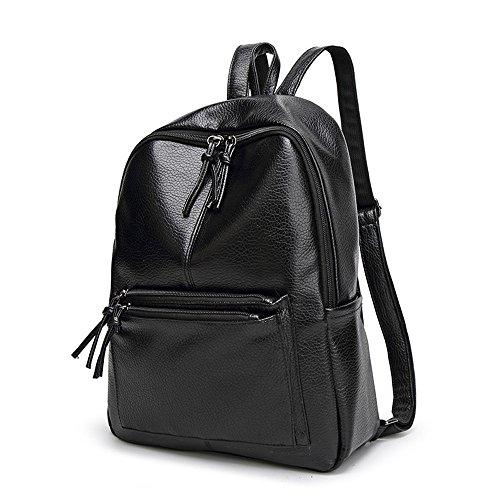 Tibes mode sac à dos en cuir PU imperméable à l'eau pour les femmes Noir